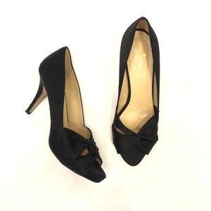 Kate Spade Open Toe Twist Front Heels Black Size 8